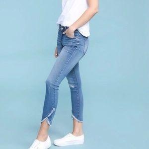 Judy Blue Distressed Tulip Hem Skinny Jeans Sz 25